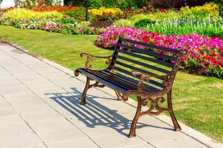 metal garden chair on garden Stock Photo