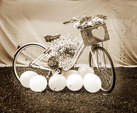 bike with flowers, concept sepia