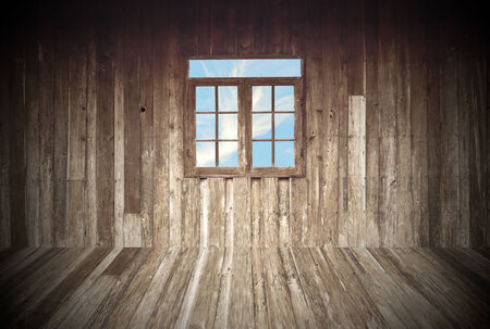 wood abandoned: wooden room with a window overlook the sky Stock Photo