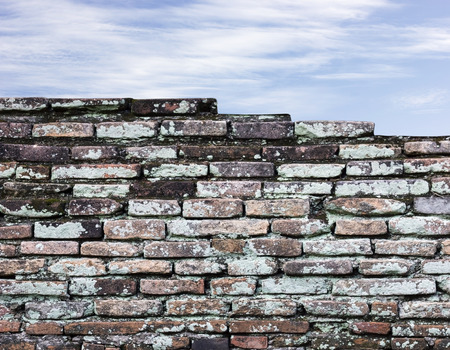 Old brick wall and sky background photo