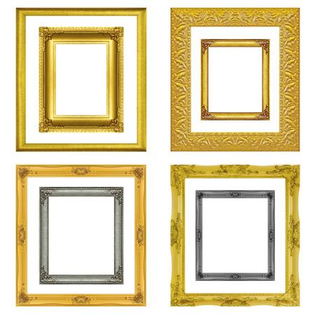 cadre antique: R�glez cadre antique isol� sur le fond blanc