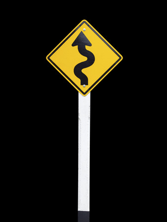 curvaceous: Traffic Signs on black background, Winding Road Sign