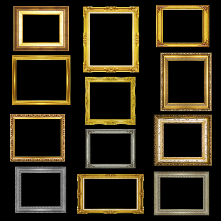 Set antique picture frame on black background photo