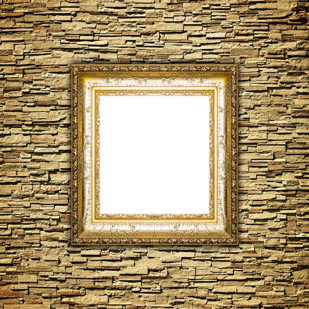 cadre antique: Antique frame sur le mur de brique de pierre fond Banque d'images