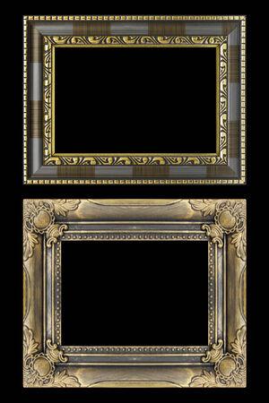 cadre antique: Lits cadre antique isol� sur fond noir