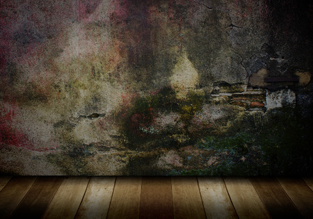 old wood floor: wood floor and old brick wall background Stock Photo
