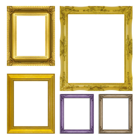 gold picture frame: set antique gold frame isolated on  white background