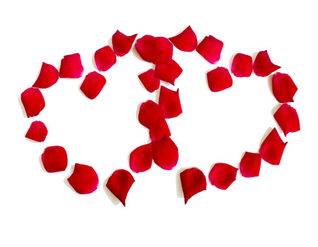 Heart made of rose petals on white background Stock Photo