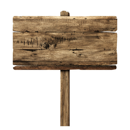 wooden post: Wooden sign isolated on white. Wood old planks sign.