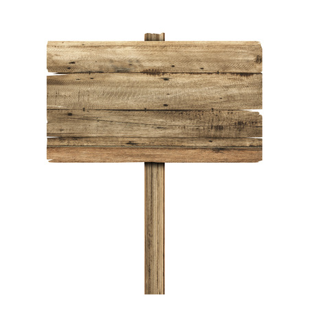 Wooden sign isolated on white. Wood old planks sign Archivio Fotografico