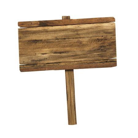 dřevěný: Dřevěné znamení izolovaných na bílém. Dřevo stará prkna podepsat. Reklamní fotografie