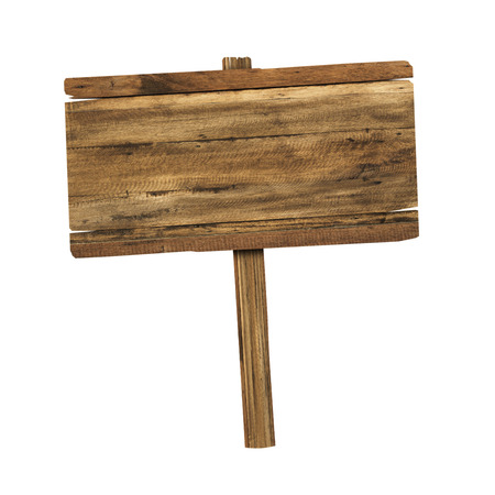 notices: Wooden sign isolated on white. Wood old planks sign.