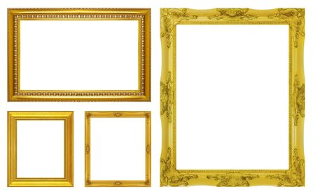 golden frame: Set golden frame isolated on white background Stock Photo