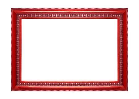 objetos cuadrados: Roja marco aislados en fondo blanco
