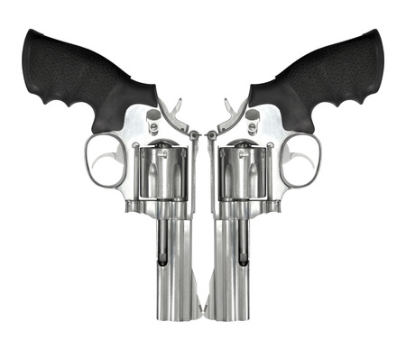 magnum: Two revolvers isolated on white background