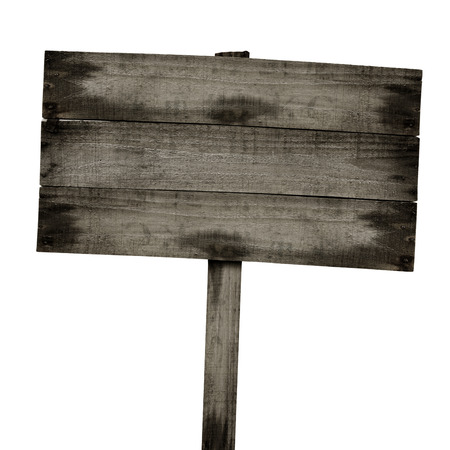 Old wooden sign isolated on white. Wood old planks sign. Stock Photo