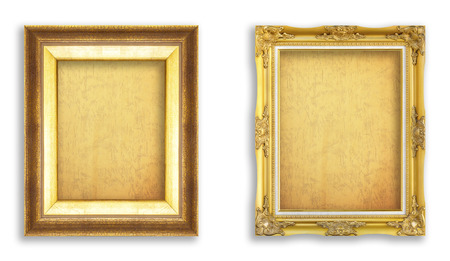 Set golden frame with empty grunge paper for your picture, photo, image. beautiful vintage background photo