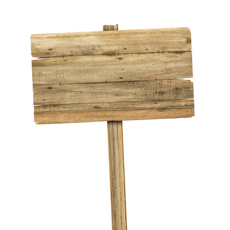 caution sign: Wooden sign isolated on white. Wood old planks sign Stock Photo