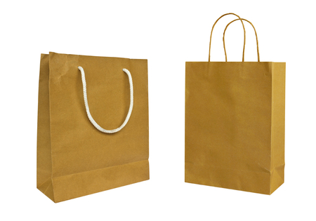 paper bags: Paper bags isolated on white background Stock Photo