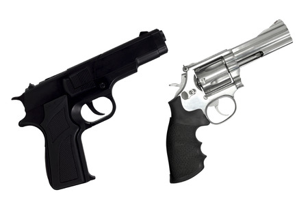 magnum: Revolvers gun and black semi-automatic gun isolated on white background