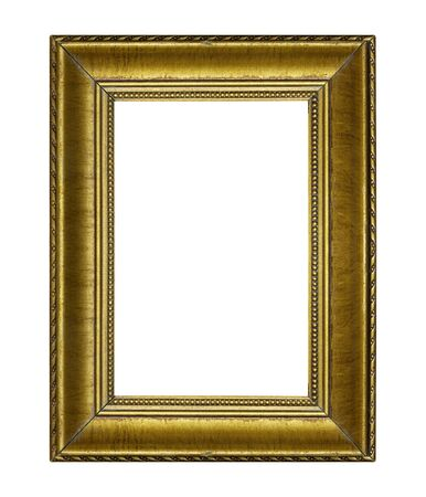 golden frame: Golden frame isolated on the white background Stock Photo