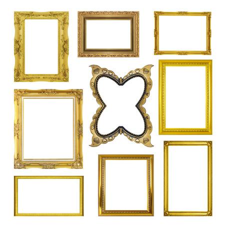 marcos decorativos: Establecer el marco de oro aisladas sobre fondo blanco