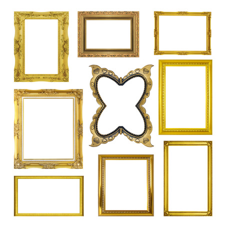 golden border: Set golden frame isolated on white background Stock Photo