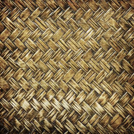treadplate: close up woven bamboo pattern Weaving pattern background Stock Photo