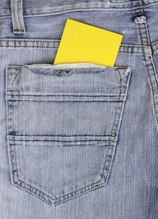 empty Note in jeans pocket, note for texture