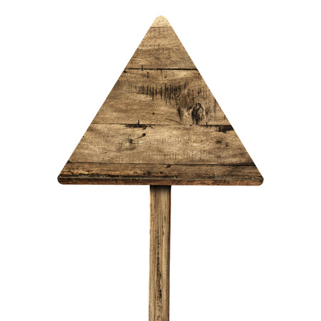 old sign: Triangle wooden sign isolated on white. Wood old planks sign.