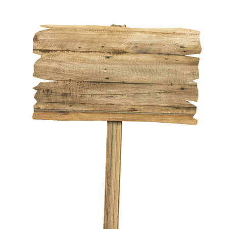 Wooden sign isolated on white. Wood old planks sign Banque d'images