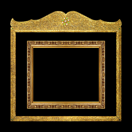 antique gold frame: The antique gold frame isolated on the black background.