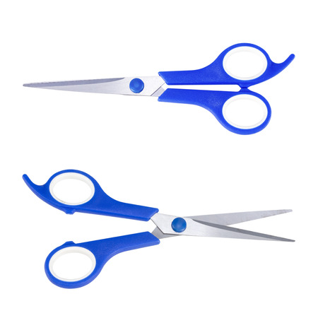 tinkering: Bluie scissors isolated on white background.