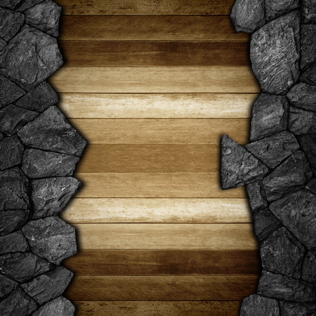 housebreaking: stone and wooden wall for background texture. Stock Photo