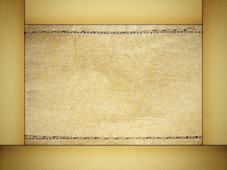 tailor seat: Label leather textured in paper frame background. Stock Photo