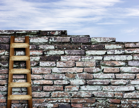 crack climb: Old brick wall and sky background with wooden ladder background