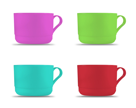 bathe mug: plastic cups on white background.