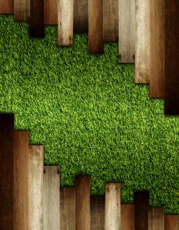 houten op groen kunstgras patroon, textuur voor de achtergrond.
