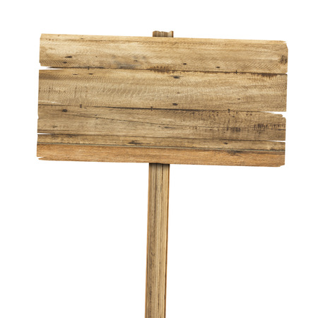 Wooden sign isolated on white. Wood old planks sign Banco de Imagens