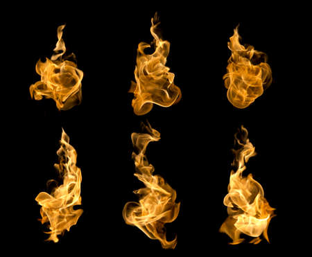 High resolution fire collection of isolated flames on black background.