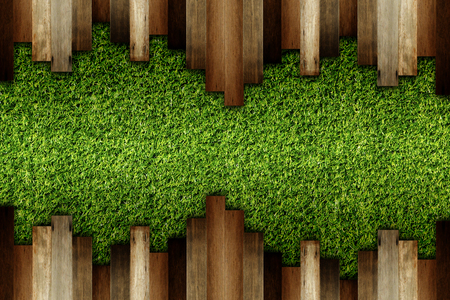 housebreaking: wooden on green artificial turf pattern ,texture for background. Stock Photo