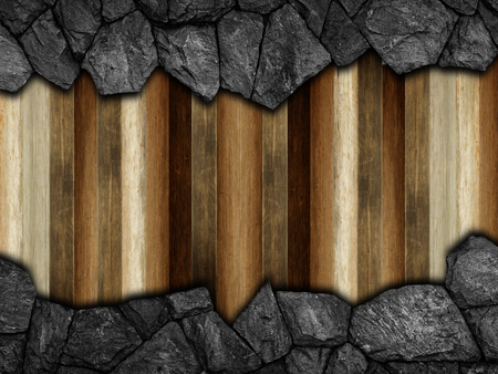 stone on wooden wall for background