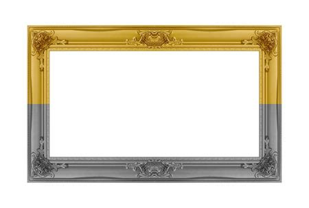 gold frame isolated on white background. Stock Photo