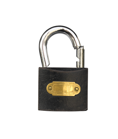 Padlock which is broken isolated on a white background. Stock Photo