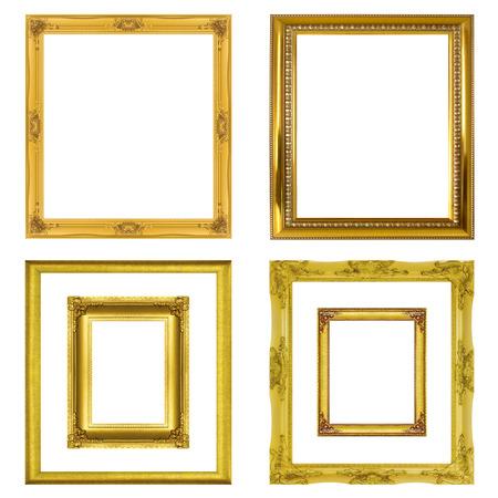 Set golden frame isolated on white background. Stock Photo