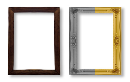 wood frame and gold frame on white background. Stock Photo