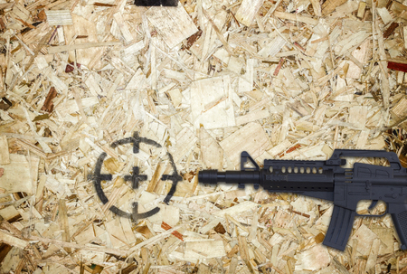 gun and target on wooden background. Stock Photo
