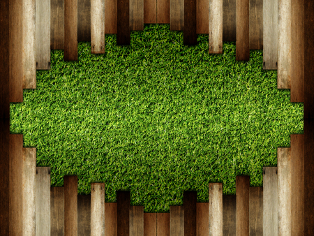 wooden on green artificial turf pattern ,texture for background. Stock Photo
