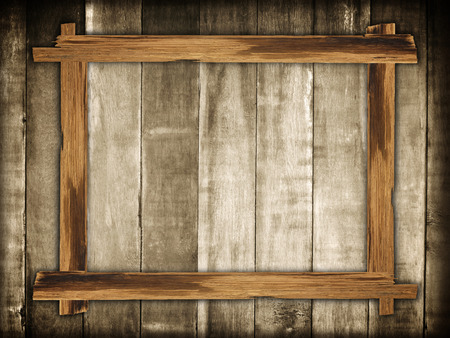 Picture frames made of plank wood on wooden background