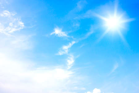 sun and clouds in the blue sky background.